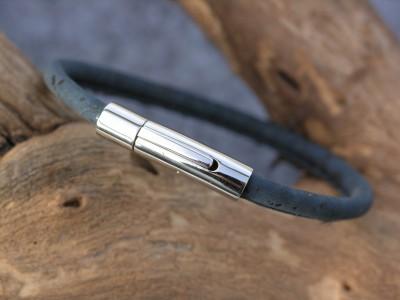 Korkarmband, dunkelblau, 1-fach, kleiner Edelstahlverschluß, glänzend