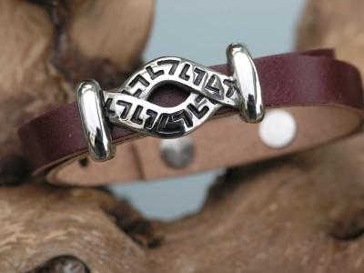 Wickelarmband Bioleder, dunkelbraun mit Schiebeelement aus Edelstahl